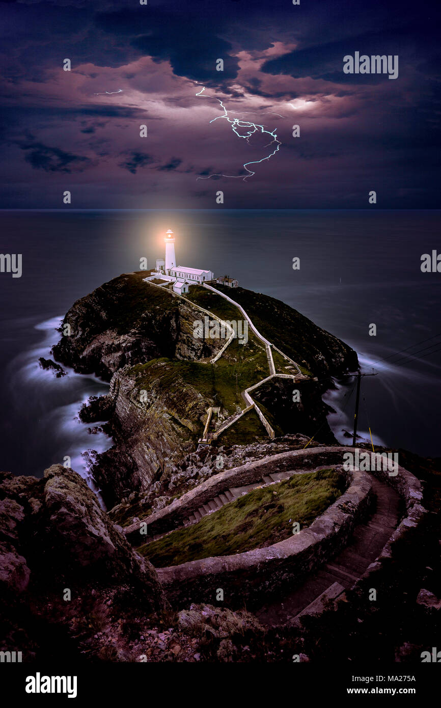 South Stack Lighthouse, Holyhead, Anglesey - Stock Image