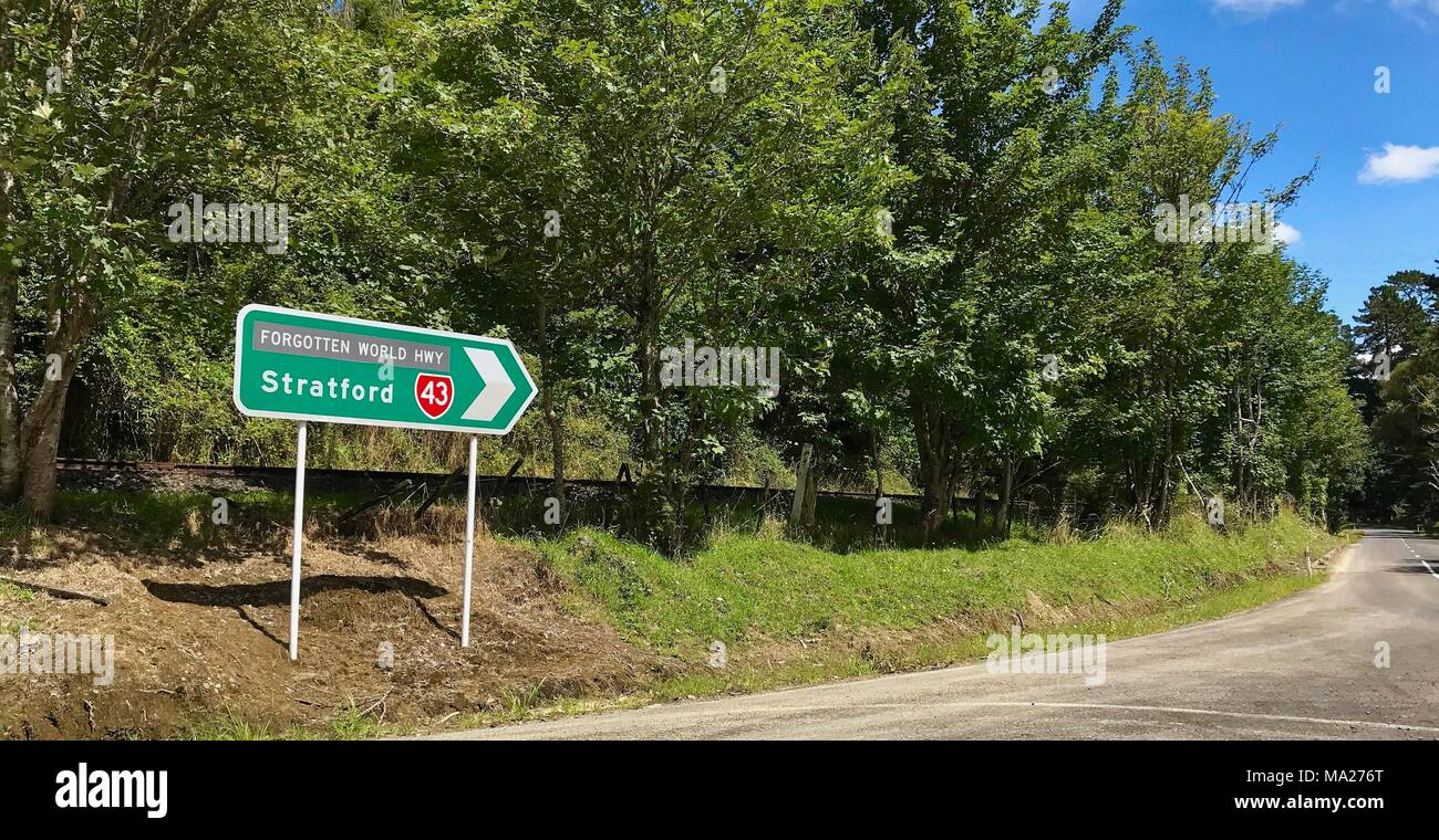 Signpost to Stratford along the Forgotten World Highway, New Zealand - Stock Image