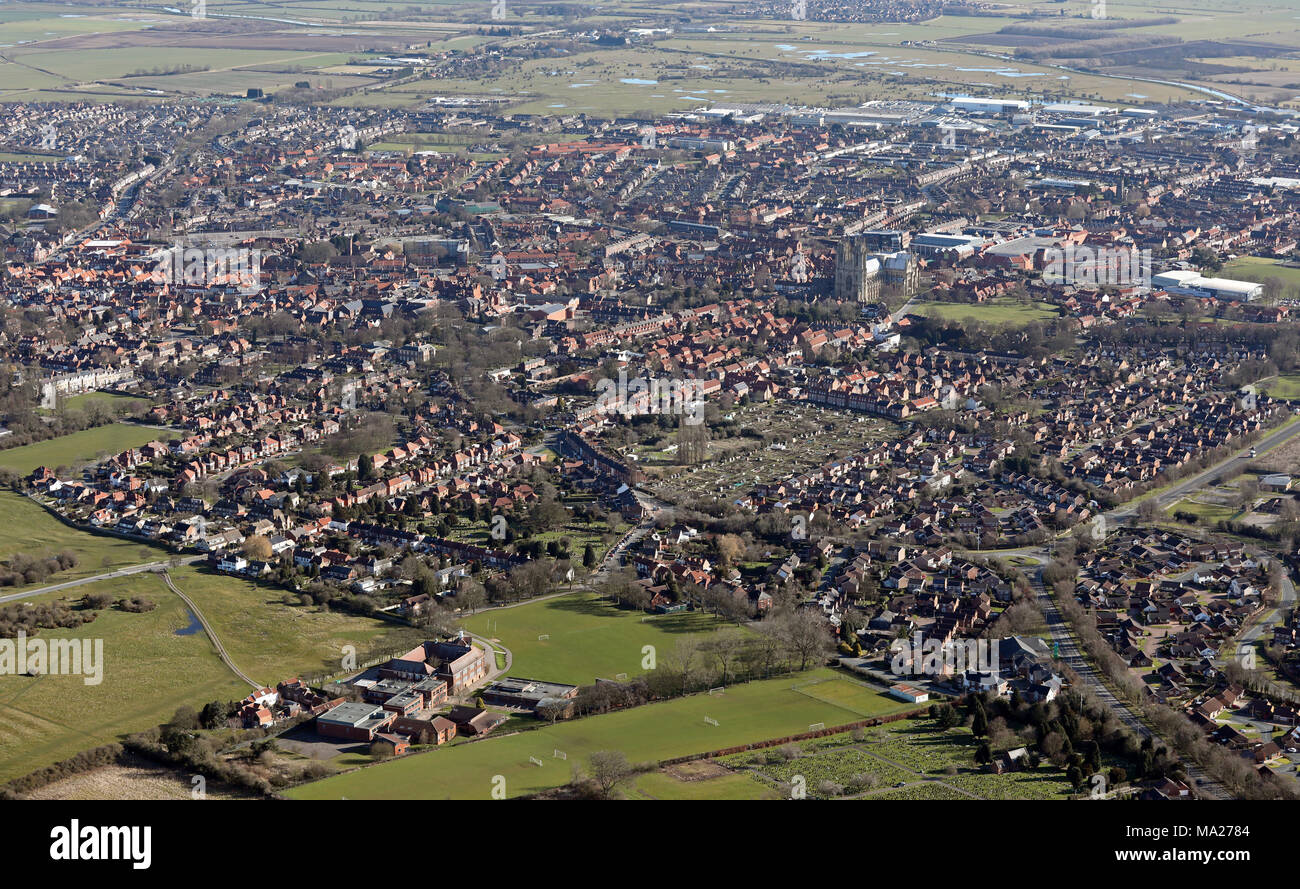 aerial view of the East Yorkshire market town of Beverley - Stock Image