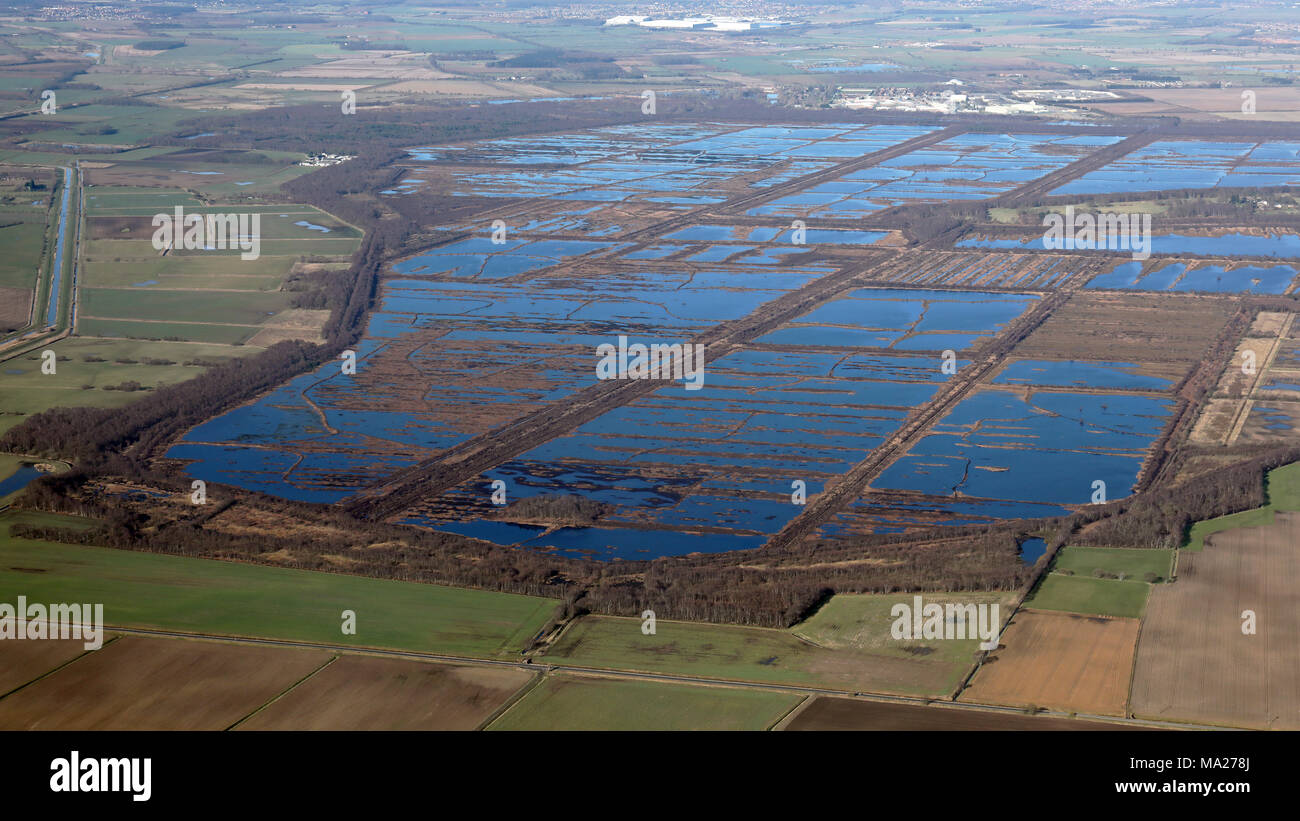 aerial view of Hatfield Moors peat moor and nature reserve near Doncaster, South Yorkshire - Stock Image