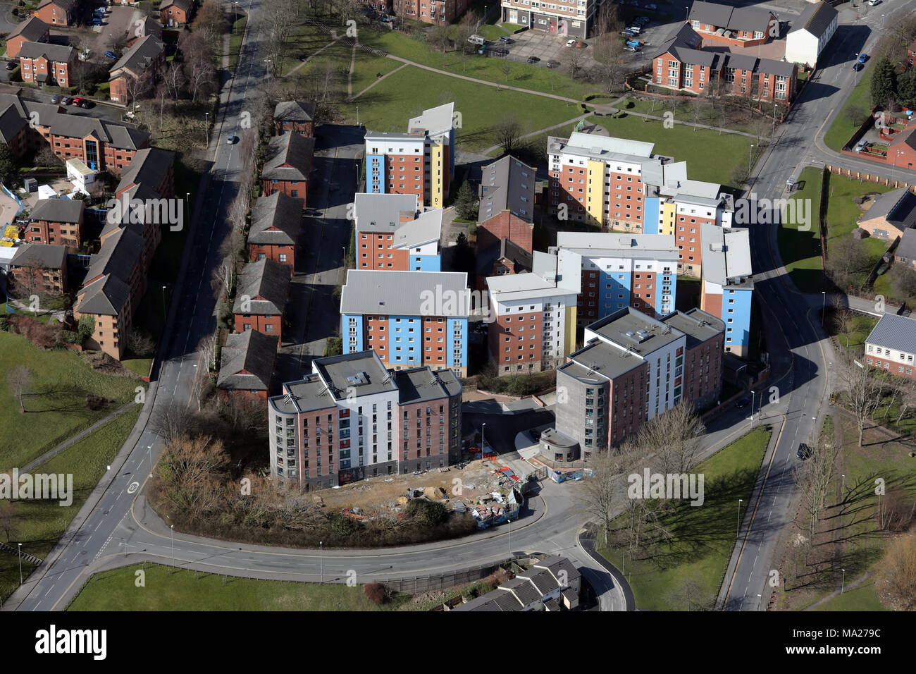 aerial view of Leodis Student Housing & Urban Student Life - Asquith House & Austin Hall, Leeds LS6 2QF - Stock Image