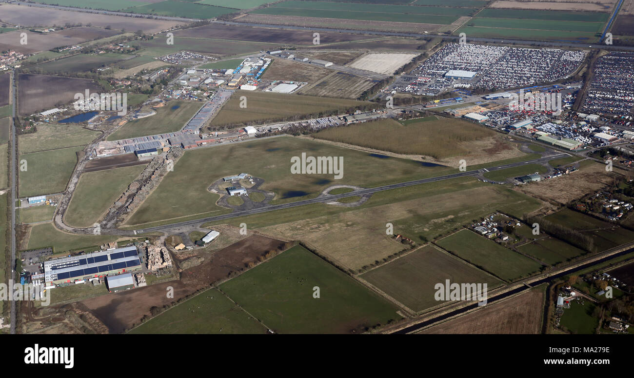 aerial view of Sandtoft airfield - Stock Image