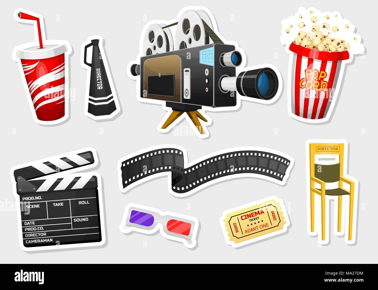 Movie stickers vintage cinema entertainment and recreation with clapperboard and camera filmmaking and video cassette chair film stock for hollywood studio freerunsca Choice Image