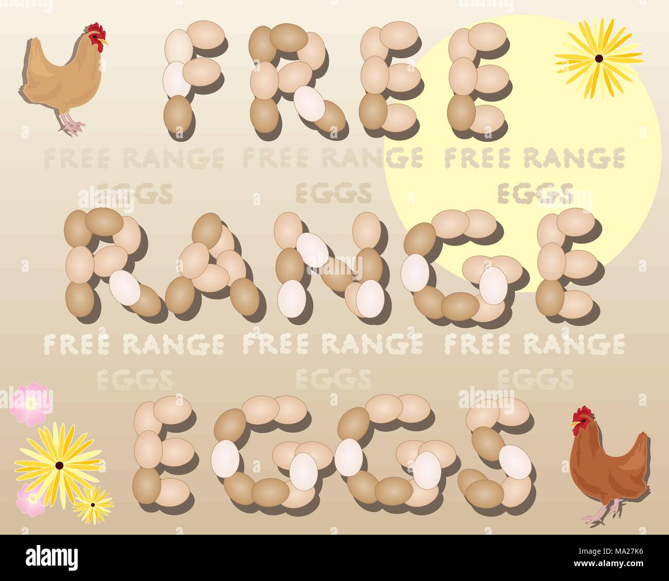 an illustration of two chickens standing beside the words free range eggs under a sun with flowers on a beige background - Stock Vector
