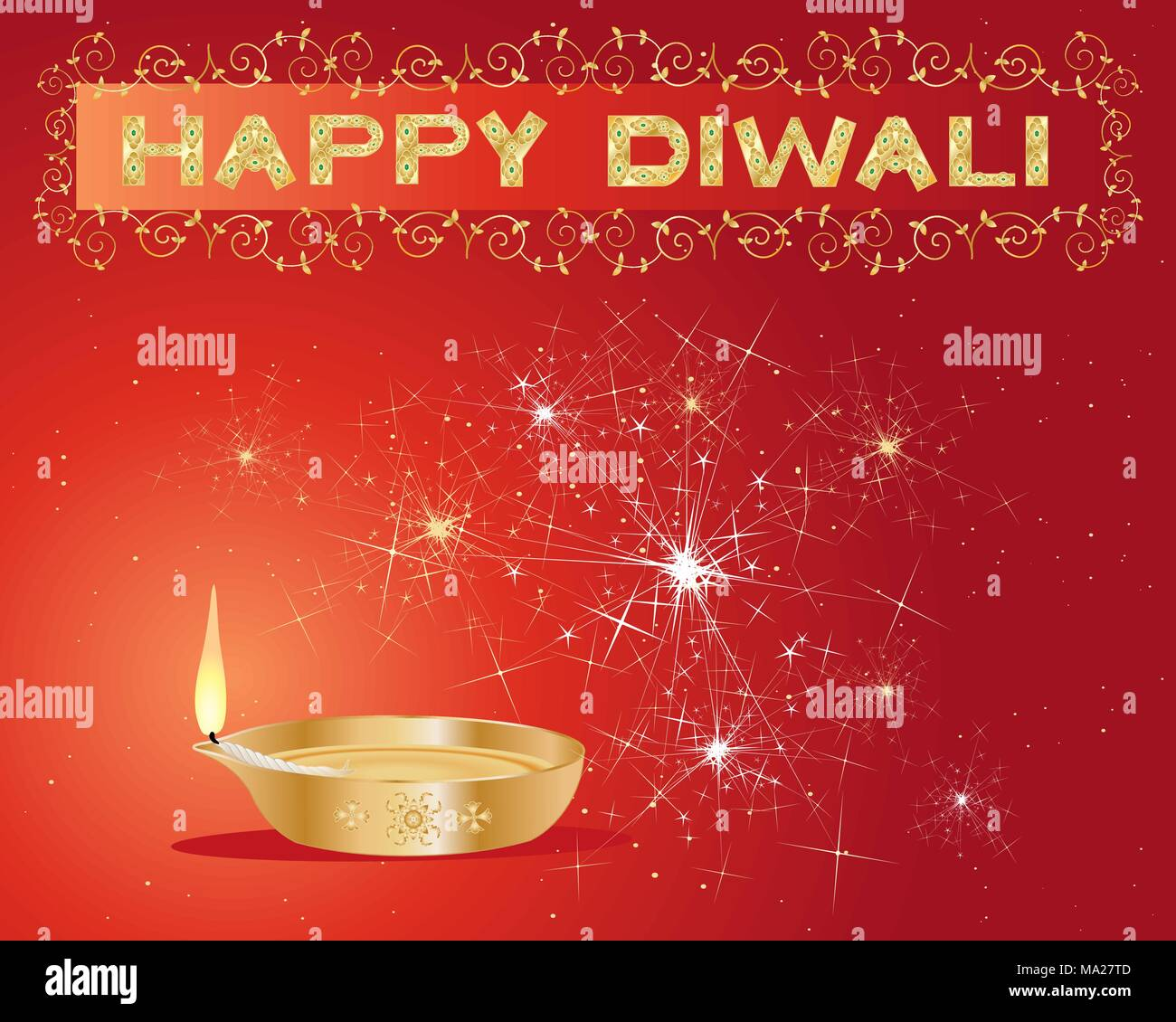 an illustration of a diwali lamp lit up with sparklers and stars and a decorative happy diwali sign on a red background - Stock Vector