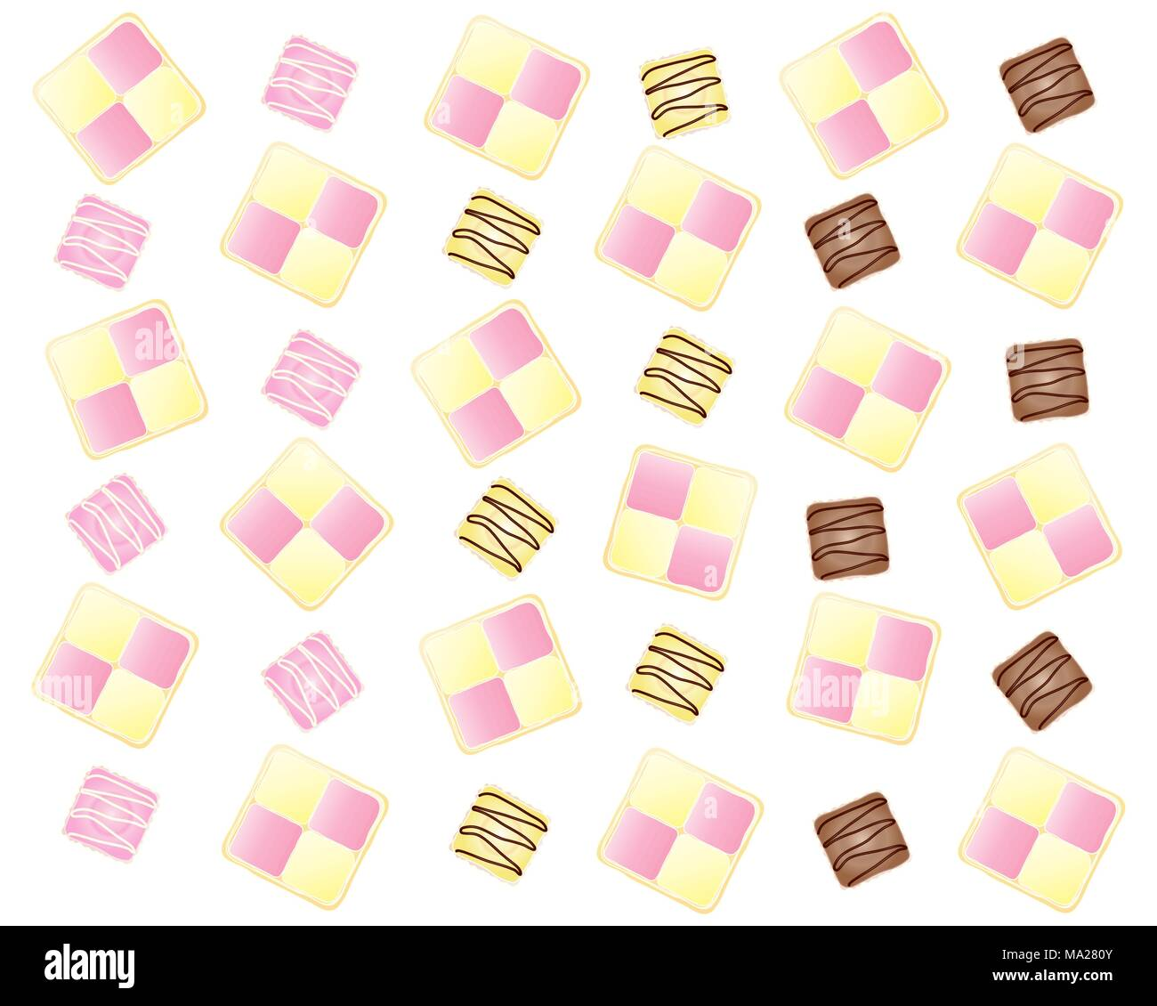 an illustration of an abstract cake design with battenburg slices and french fancies in a fun layout on a white background - Stock Image