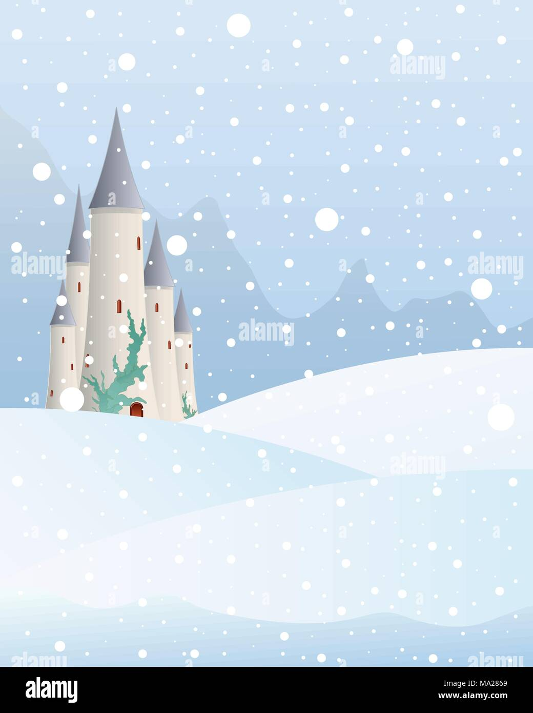 an illustration of a fairytale castle in a christmas mountain landscape with snow falling on a cold winter day - Christmas Mountain