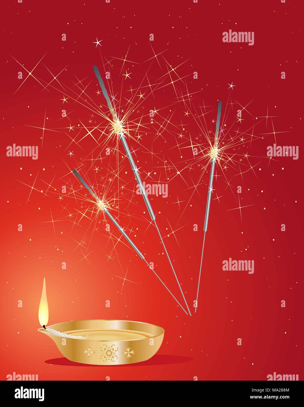 an illustration of festive diwali sparklers with golden lamp and flame on a red background - Stock Vector