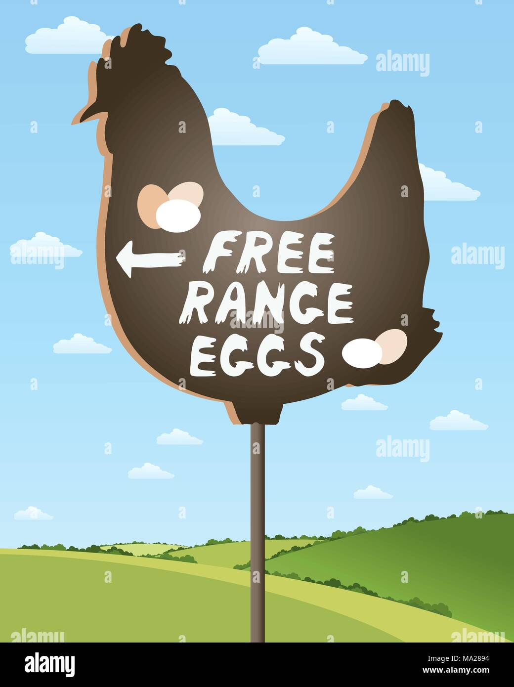 an illustration of a home made sign advertising free range eggs in beautiful countryside scenery under a summer sky - Stock Vector