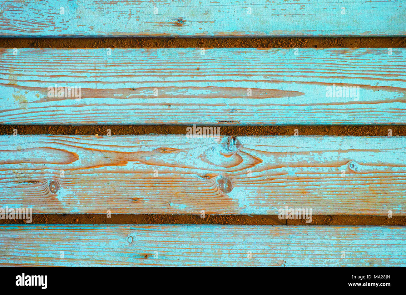 Background of blue wooden planks. Full frame. - Stock Image