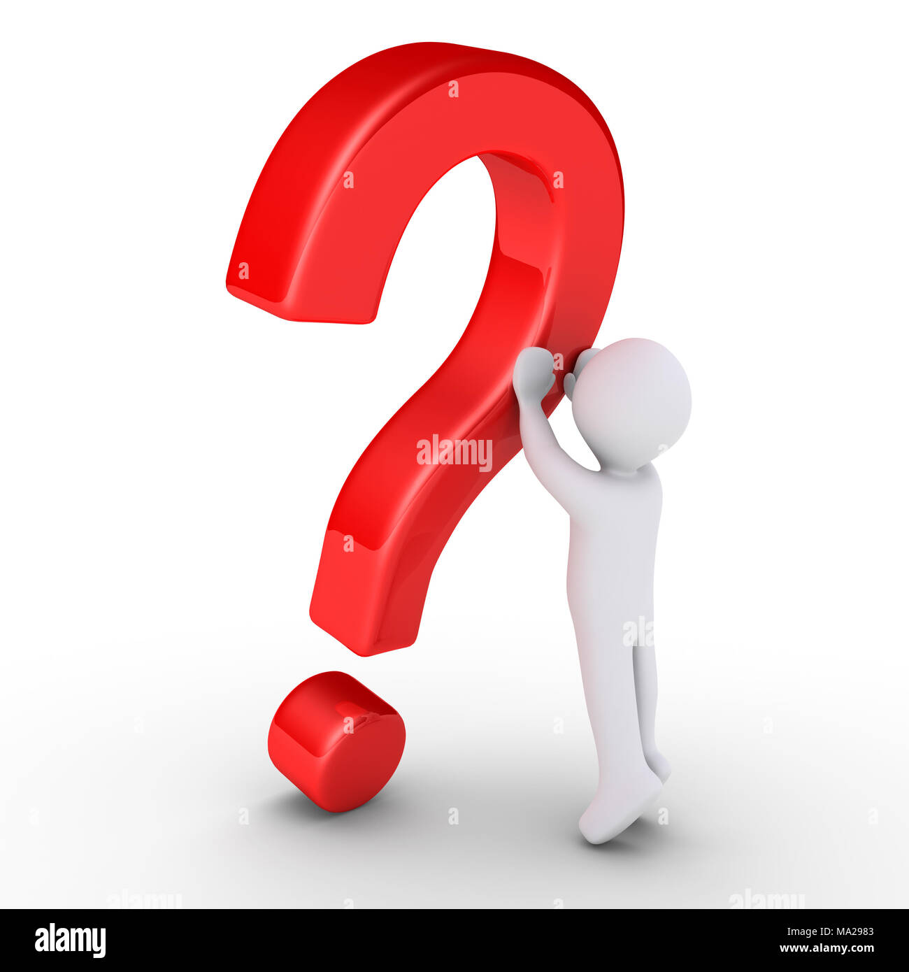3d Person Is Lifting A Question Mark Symbol Stock Photo 178301427