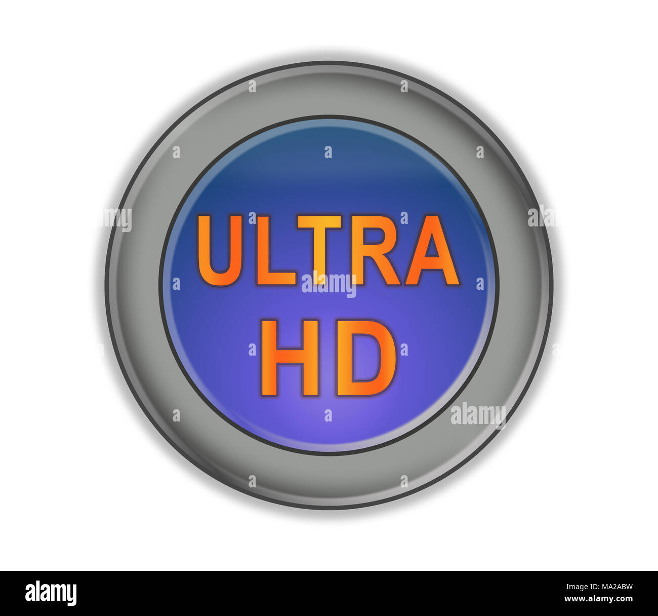 Round three-dimensional button with blue center and orange inscription 'ULTRA HD', white background - Stock Image
