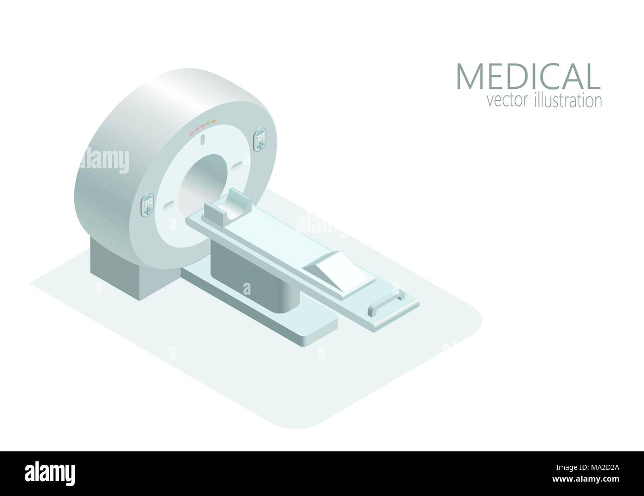 MRI computed tomography concept magnetic resonance imaging scanner vector illustration isometric flat 3d gray monochrome color - Stock Image
