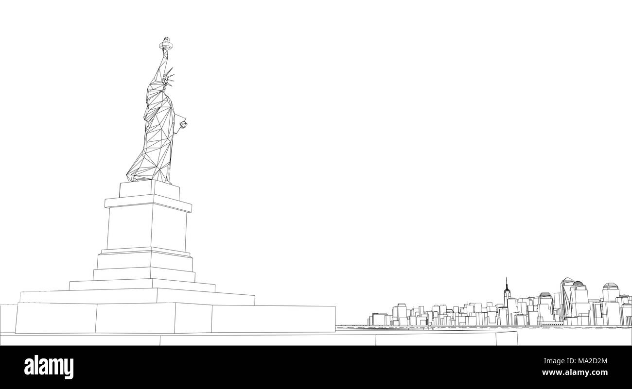 Wire frame new york city blueprint style 3d rendering wire frame new york city blueprint style 3d rendering architecture design background malvernweather Image collections