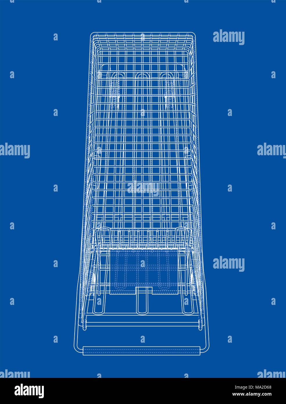 Sketch shopping trolley. 3d illustration. Wire-frame style - Stock Image