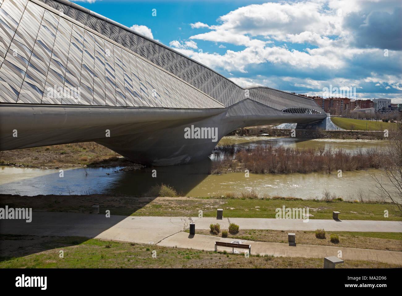 Zaragoza - The Zaha Hadid bridge Stock Photo