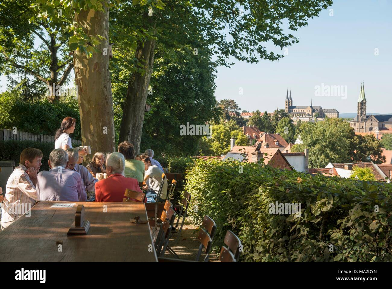 The Brauerei Spezial beer garden in Bamberg - Stock Image