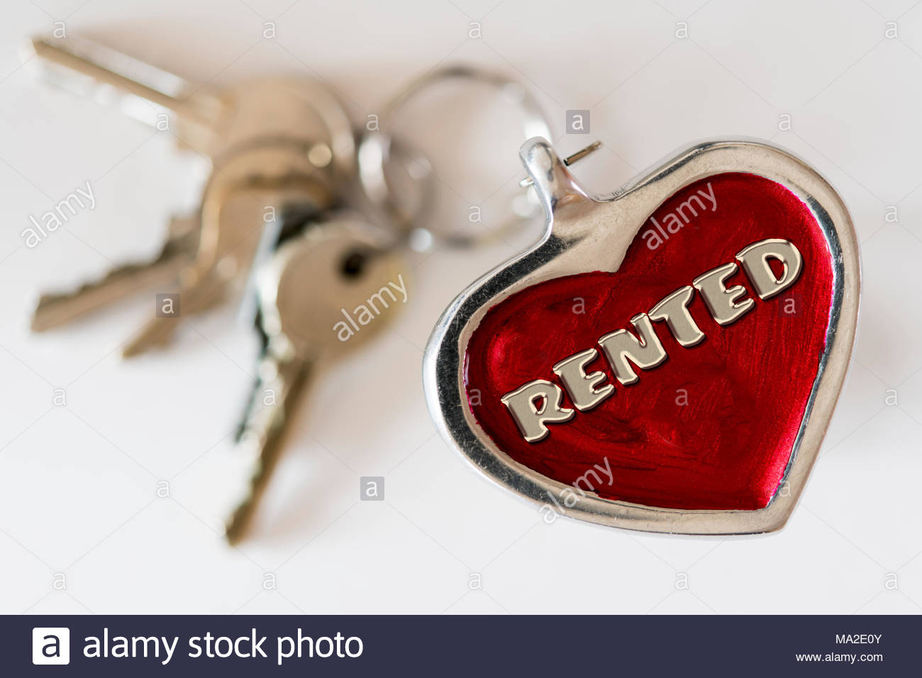 Rented written on a key ring fob, UK - Stock Image