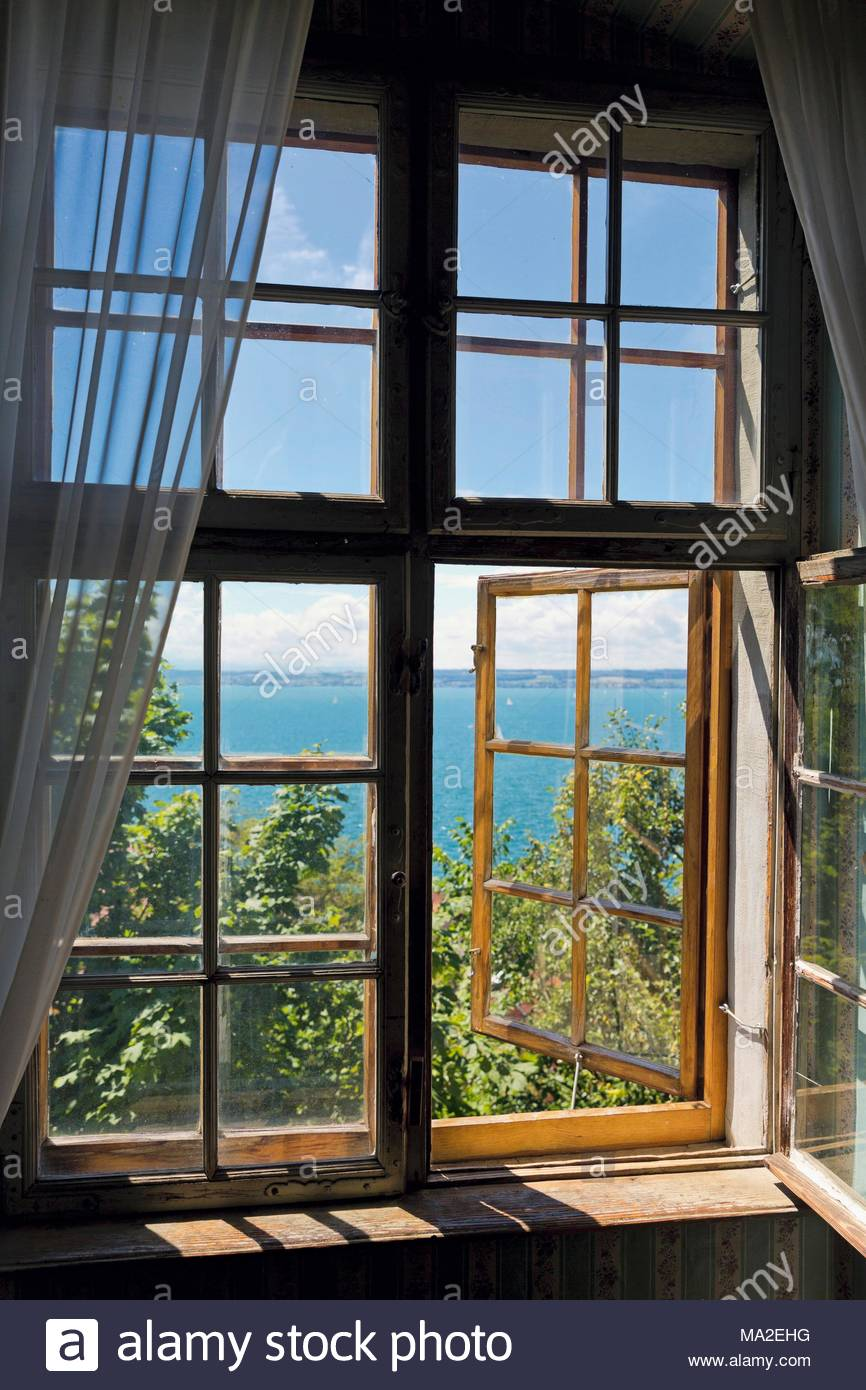 A window with a view of the lake from the memorial room in the Droste-Hülshoff apartment - Stock Image