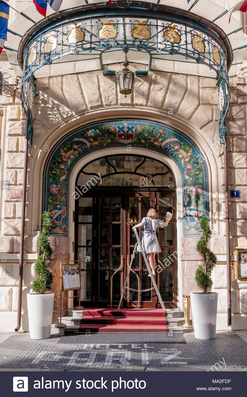 The beautiful Hotel Pariz being spruced up, Prague - Stock Image
