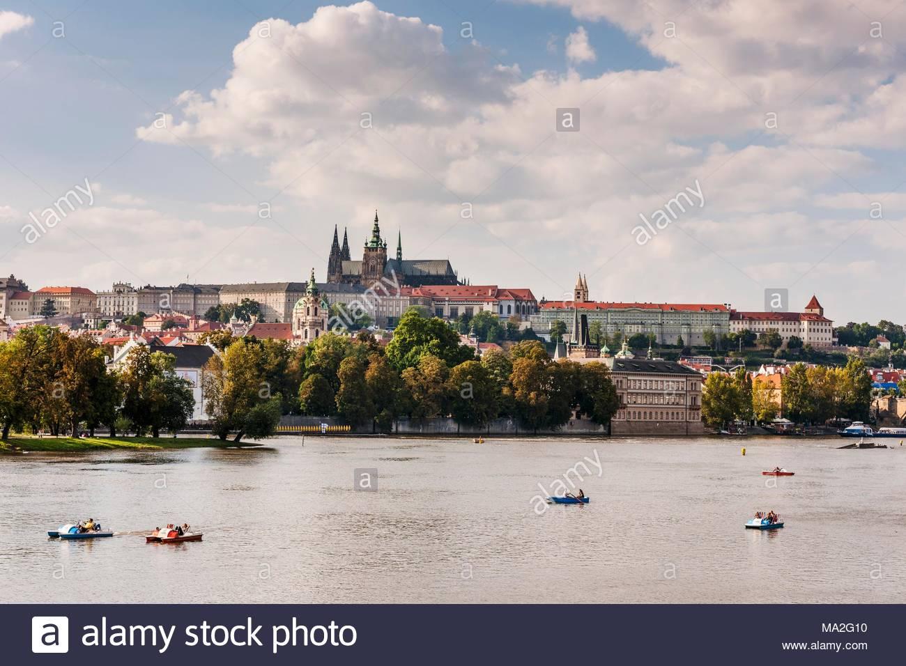 The Slavic island behind Moldau, Prague - Stock Image