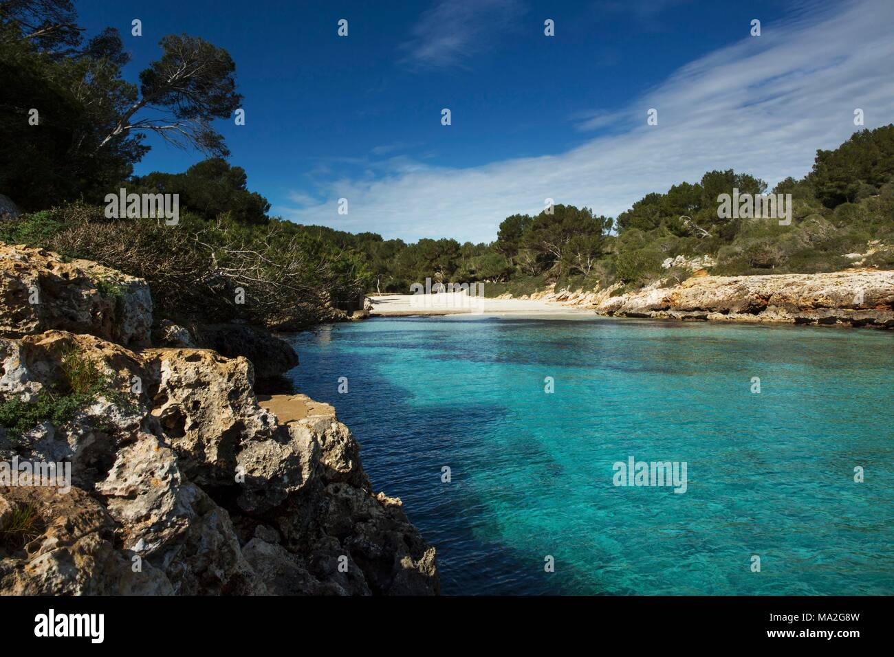 Cala Sa Nau Beach on the southern coast of Majorca Stock Photo