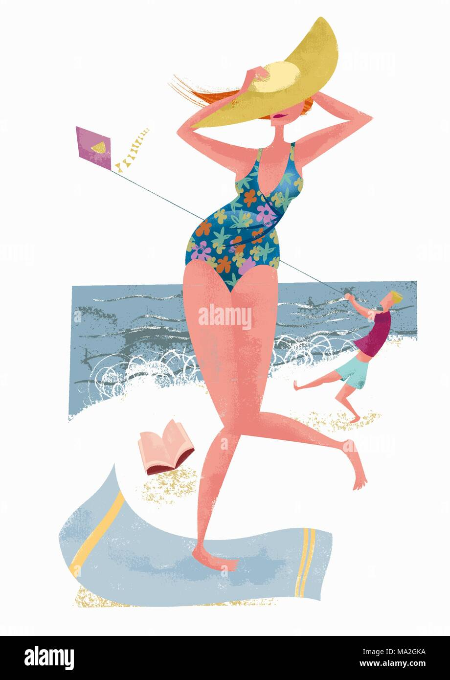A woman on a beach holding onto her hat in the wind (illustration) - Stock Image