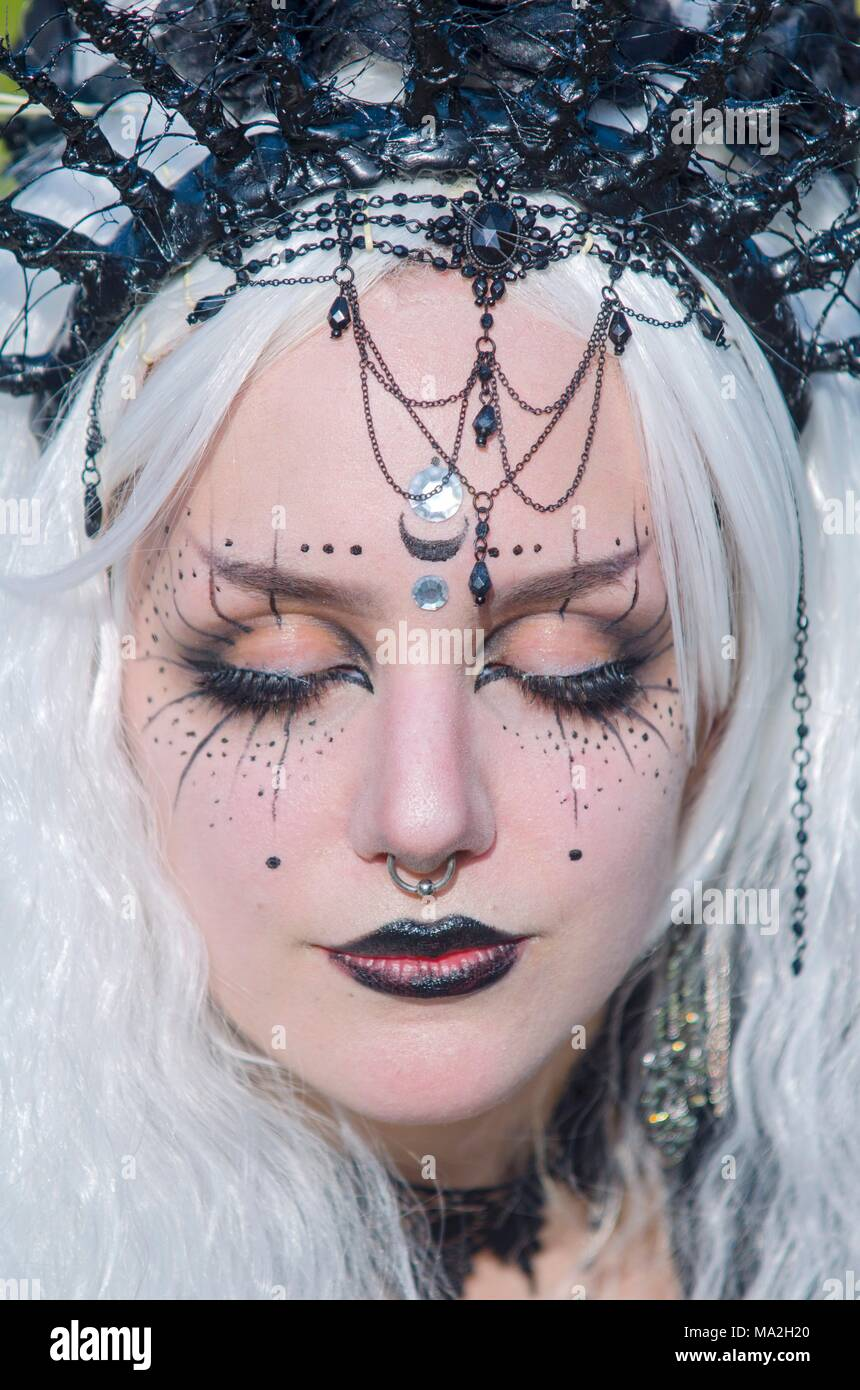 Wave-Gotik-Festival: a made-up woman in Leipzig - Stock Image