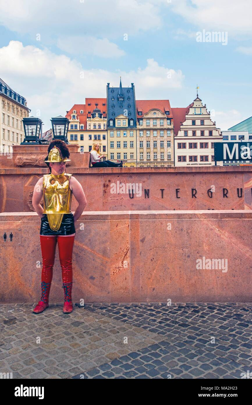 The Wave Gothic Festival: a man dressed as a gladiator, Leipzig - Stock Image