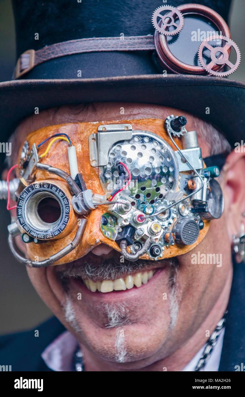 Wave-Gotik-Festival: a steampunker in Leipzig - Stock Image
