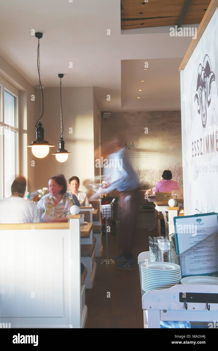 The Restaurant Dining Room At The Hotel Zweite Heimat In St Peter Ording Germany Stock Photo Alamy