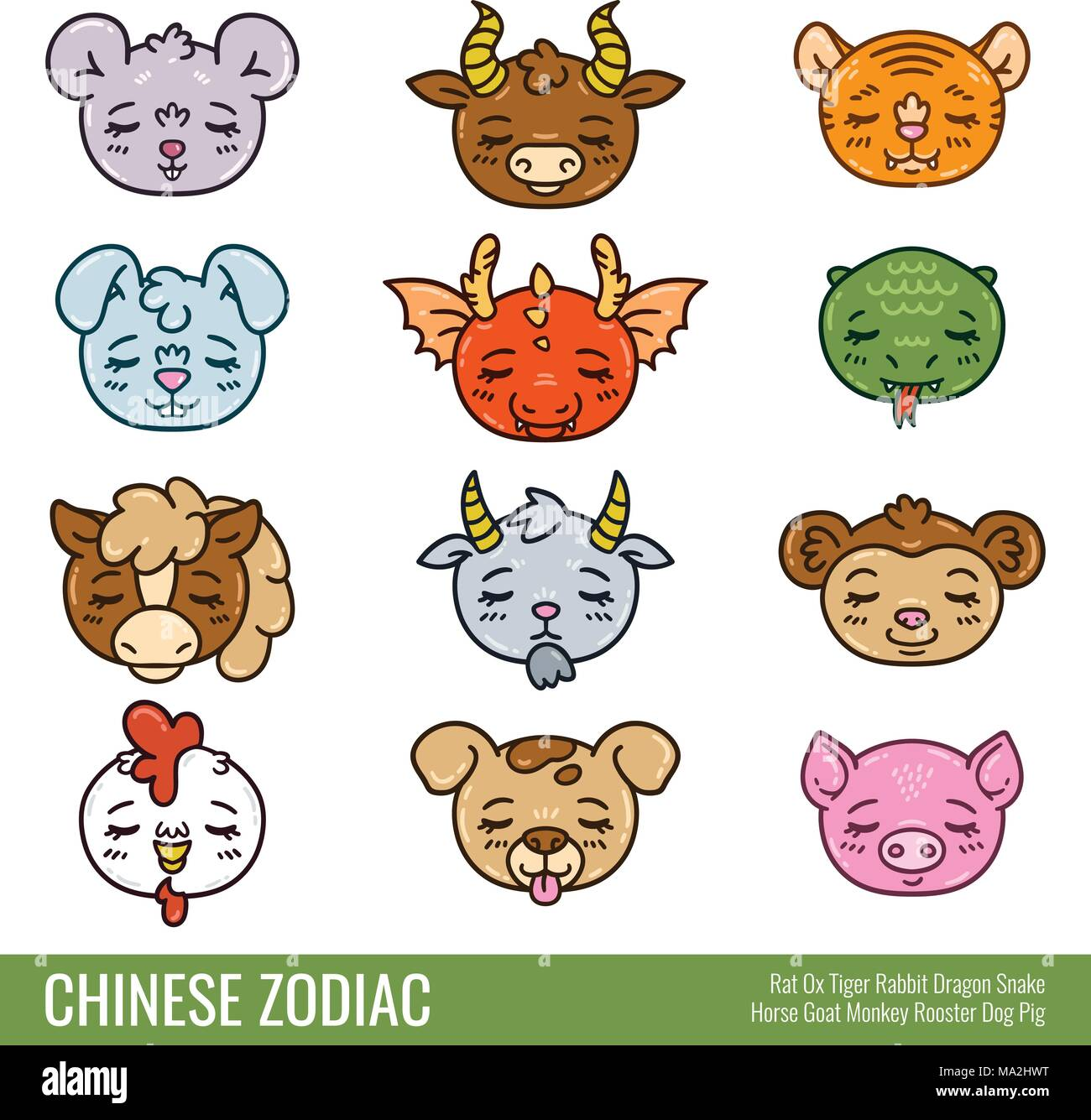 Image of: Toothless Cute Chinese Zodiac Cute Animals Horoscope Isolated Objects On White Background Vector Alamy Cute Animals Stock Vector Images Alamy