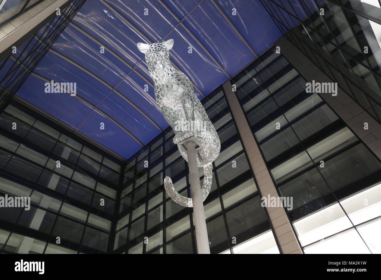 Leopard sculpture by Kelpies creator Andy Scott, which sits on a column in Marischal Square in Aberdeen, Scotland, UK Stock Photo