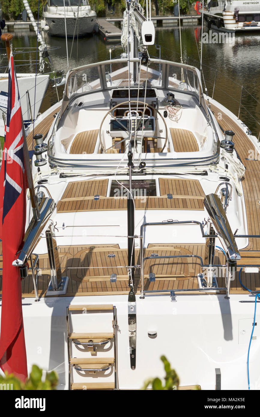 Yachting UK leisure activity. Yacht deck - Stock Image