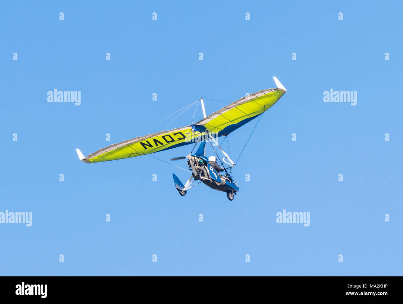 Flying in a single engine microlight aircraft. - Stock Image