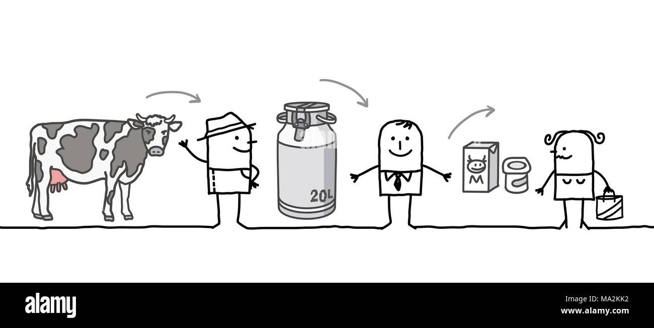 Cartoon Characters - Milk Production Chain - Stock Image