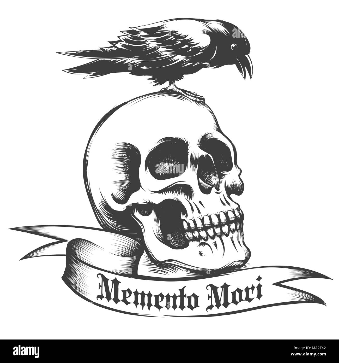 hand drawn crow sitting on human skull and ribbon with latin wording memento mori what means remember what you have to die isolated on white vector