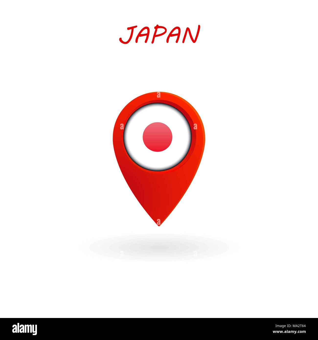 Location Icon for Japan Flag, Vector, Illustration, Eps File Stock Vector