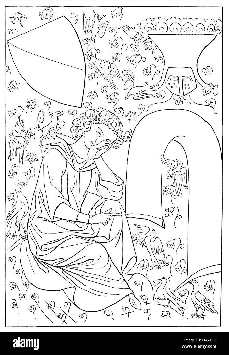 Heinrich von Veldeke. After the Parisian (Manessian) manuscript - Stock Image