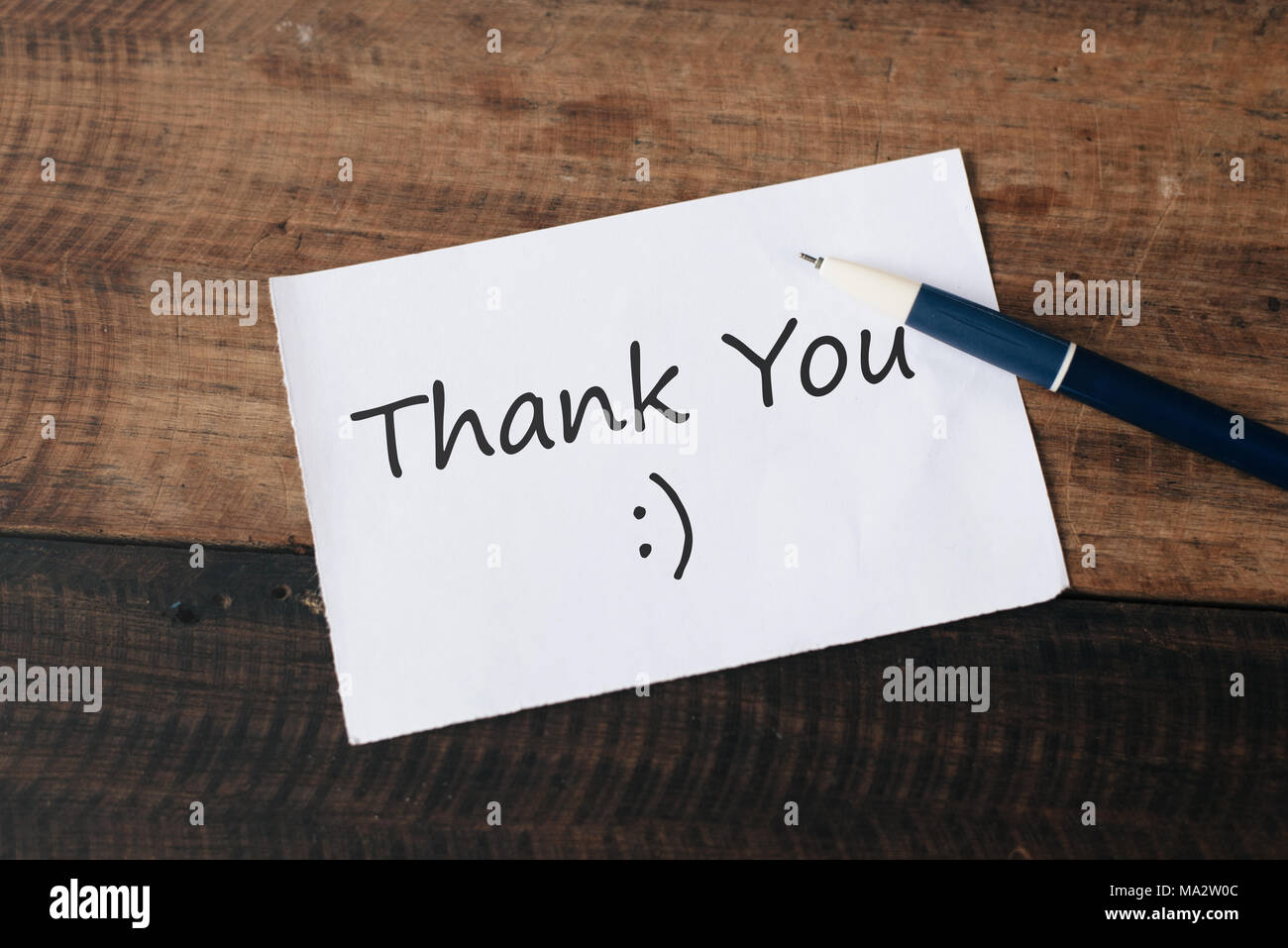 White paper note written word THANK YOU. Appreciation concept - Stock Image