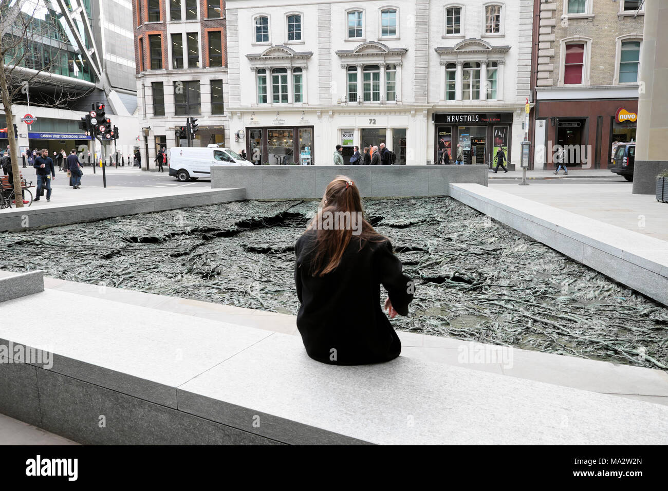 """Forgotten Streams"" Walbrook sculpture by artist Cristina Iglesias at the Bloomberg European Headquarters building City of London UK   KATHY DEWITT Stock Photo"