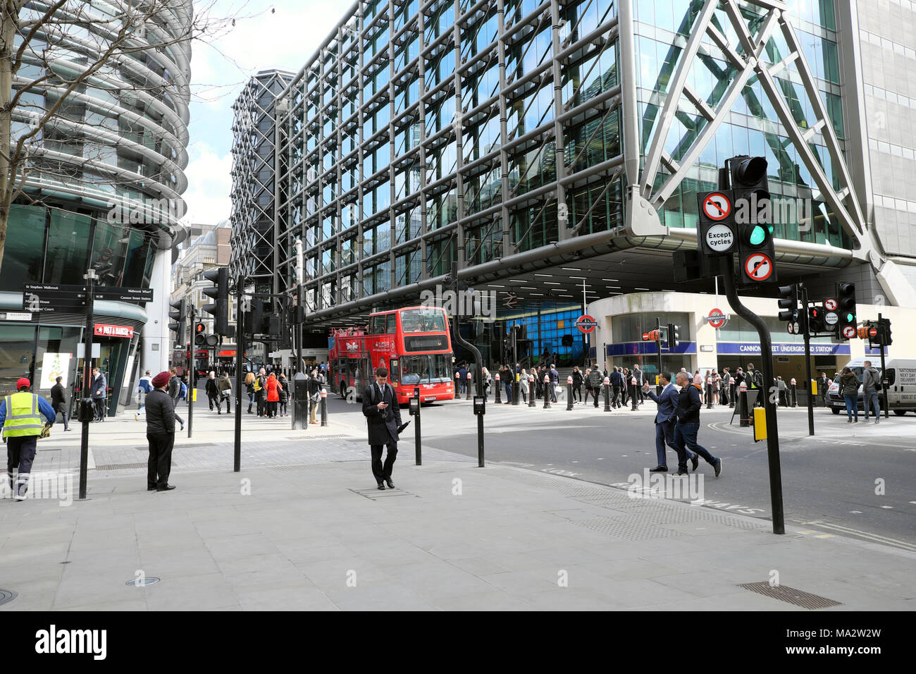 People walking past Walbrook Building and Cannon Street Station outside the new Bloomberg European Headquarters in City of London UK   KATHY DEWITT - Stock Image