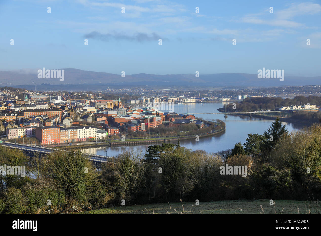 Derry, Londonderry and the River Foyle, Northern Ireland. - Stock Image