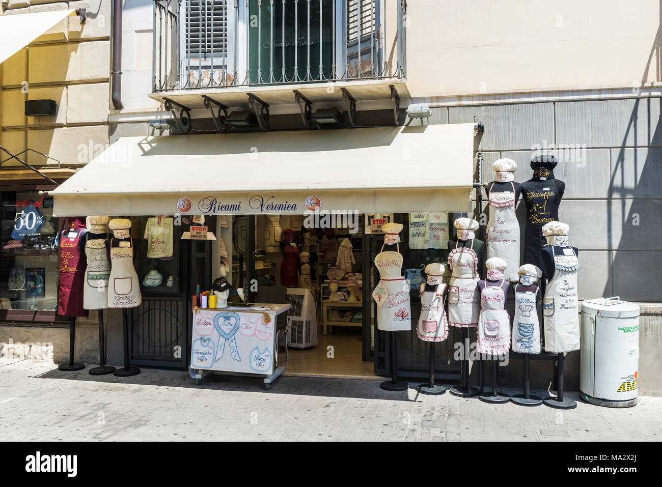 Palermo, Italy - August 10, 2017: Aprons shop of Ricami Veronica in the center of Palermo in Sicily, Italy - Stock Image