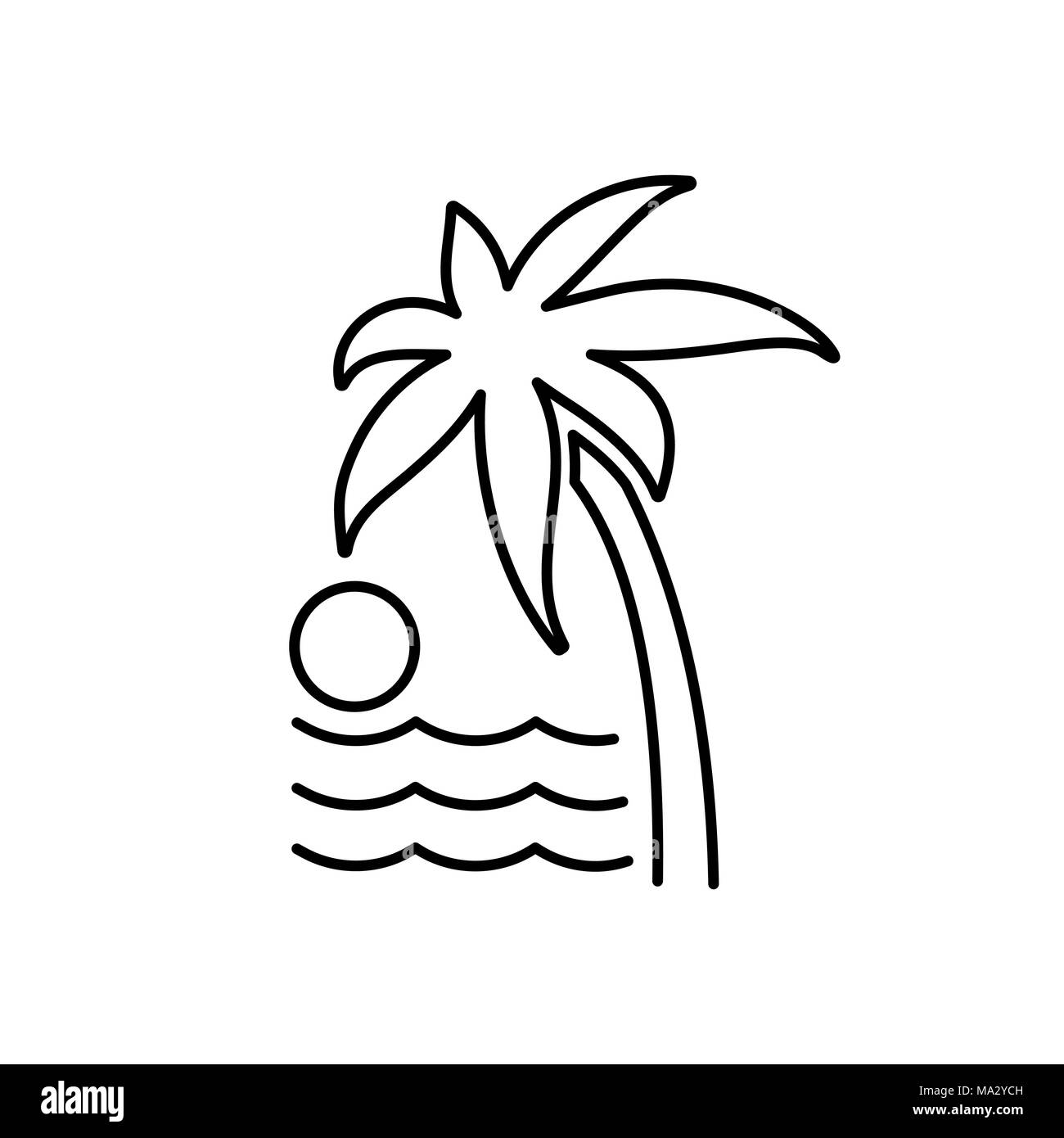 Palm trees icon. Beach and vacation icon illustration. - Stock Image