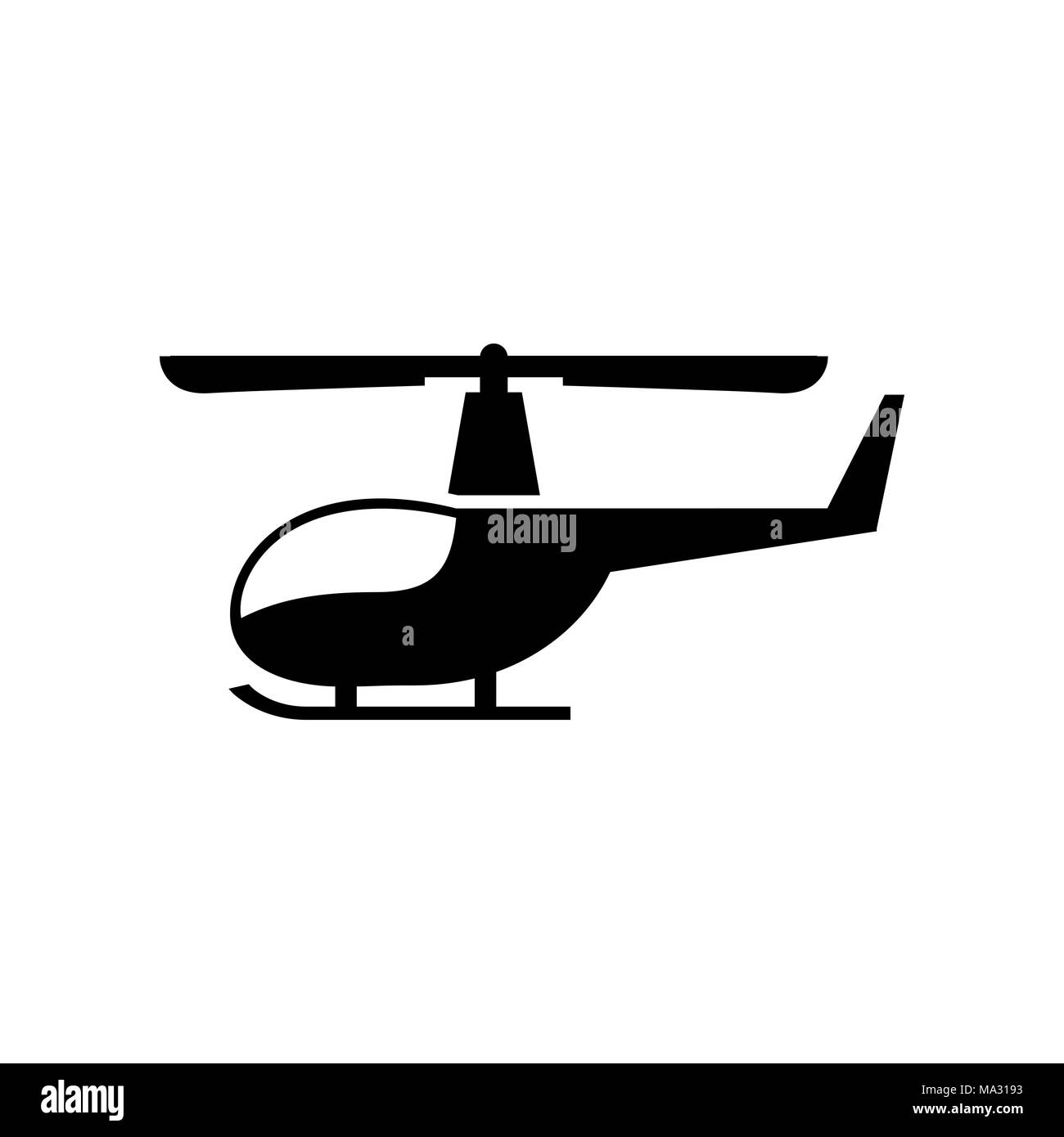 Helicopter icon simple flat vector illustration. - Stock Vector