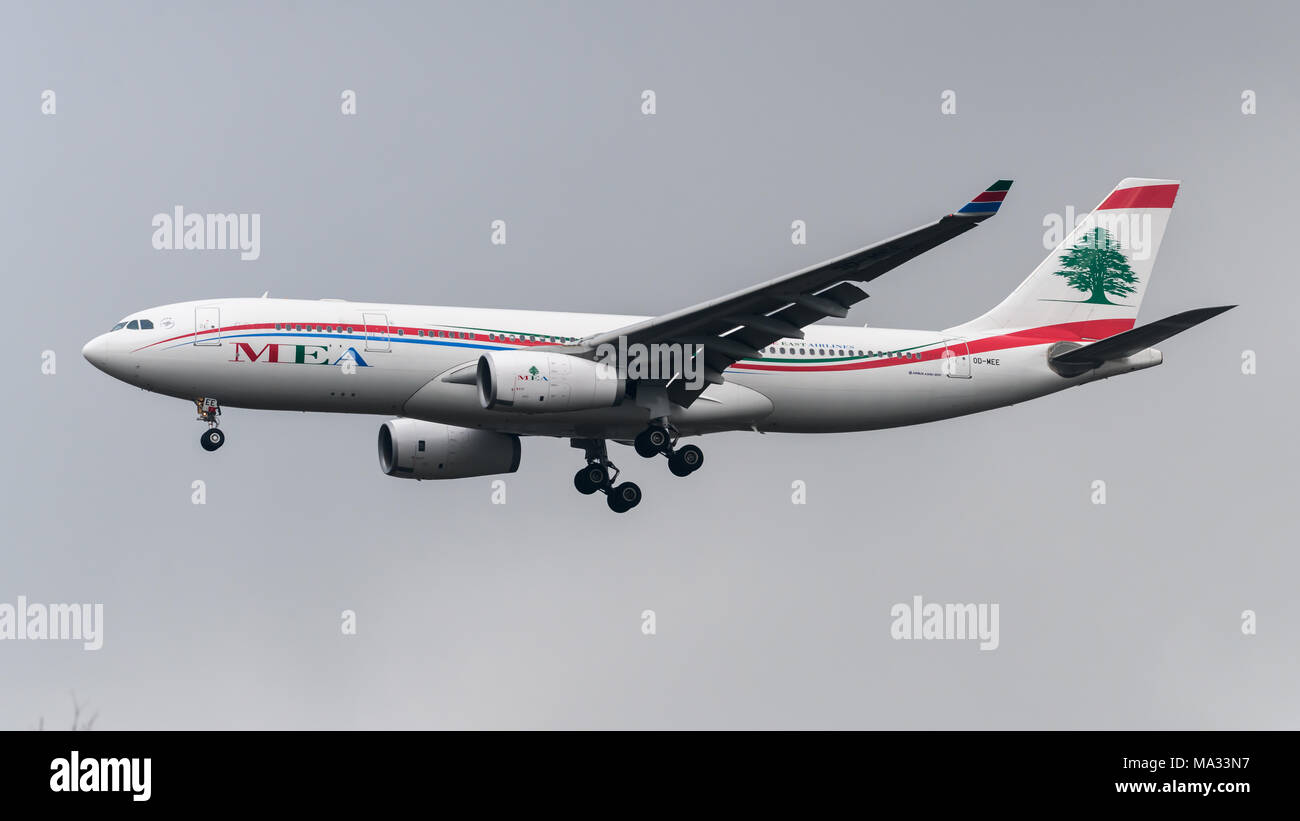 Middle Eastern Airlines Airbus A330 landing at London Heathrow Airport - Stock Image