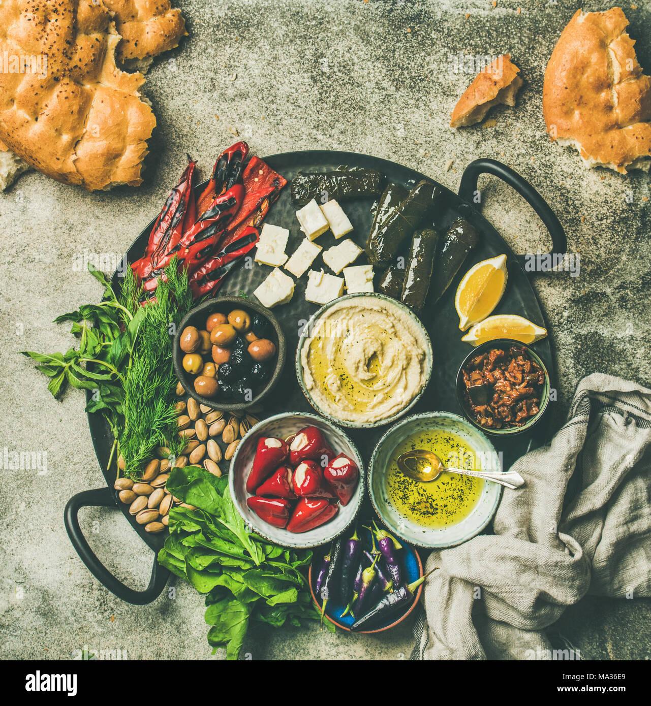 Mediterranean meze starter fingerfood platter, copy space - Stock Image