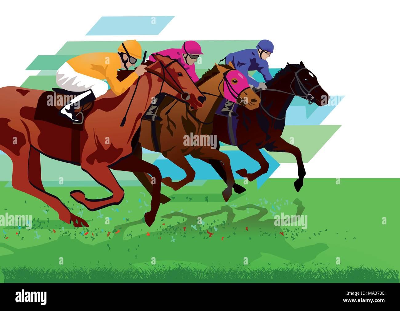 Jockeys with racehorses on the racetrack - Stock Vector