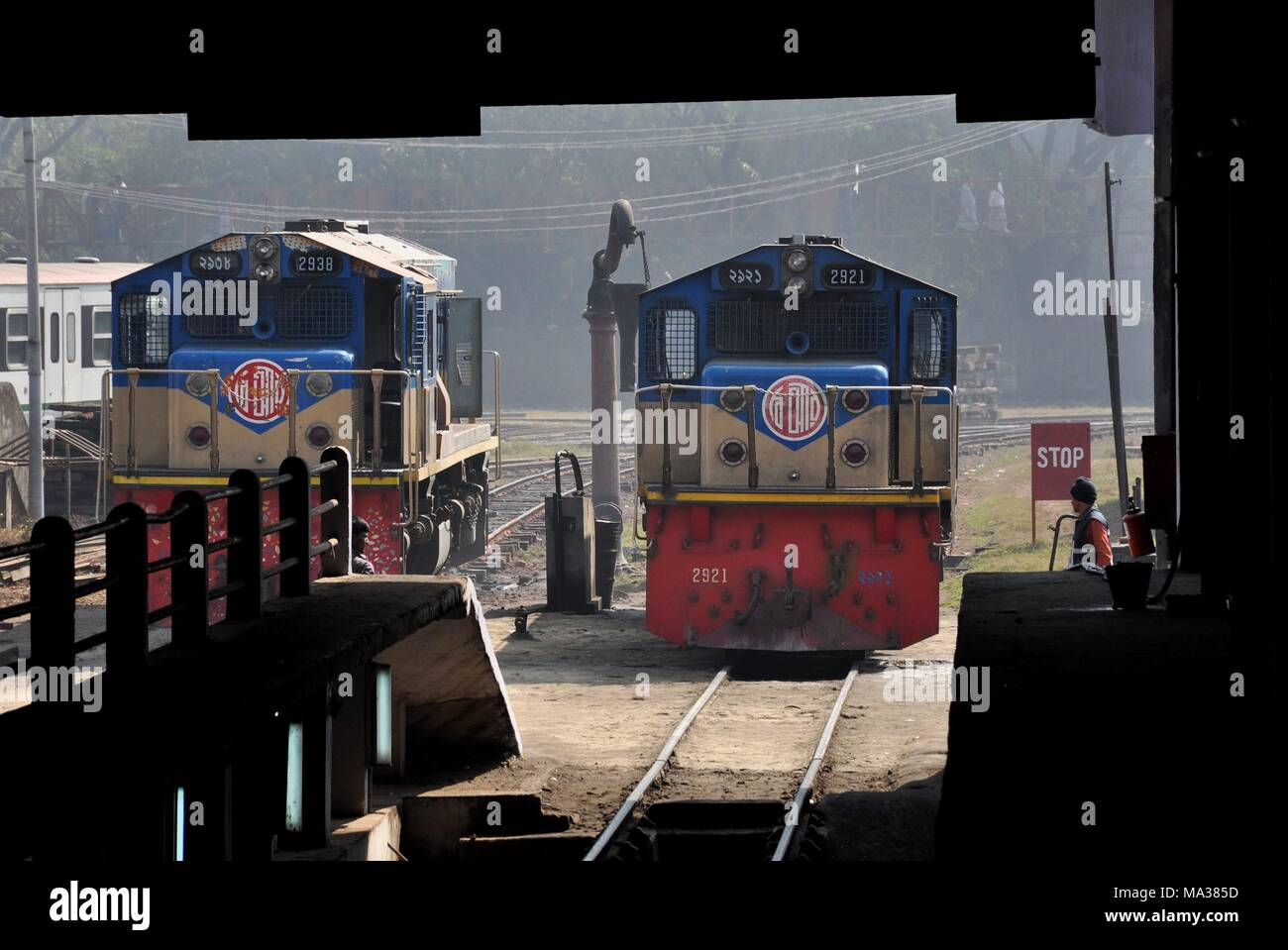 4052cc1ab642 Locomotive depot with loco 2938 and 2921 on 15.01.2015 in Chittagong -  Bangladesh